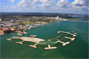 geotextile tube structural core of island perimeter and groins (Ft. Pierce Marina)
